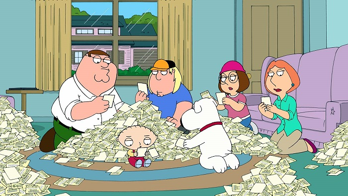 "FAMILY GUY: When Peter buys the winning lottery ticket the Griffins try to stay grounded but they can't keep it together and lose it all in the ""Lottery Fever"" season premiere episode of FAMILY GUY airing Sunday, Sept. 25 (9:30-10:00 PM ET/PT) on FOX.  FAMILY GUY ª and © 2011 TTCFFC ALL RIGHTS RESERVED."